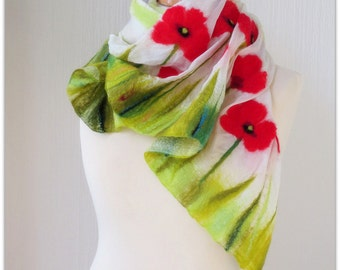 Impressionist poppies. White and red shabby shawl with strokes of apple green, silver grey and oyster