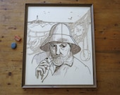 Vintage FISHERMAN Crewel Embroidered Artwork Ready to Hang Textile Wall Hanging Nautical Theme