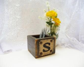 Guestbook Pen holder, theburlapmonogram, wedding home decor, rustic wooden flower holder
