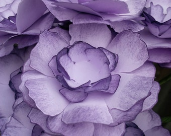 Purple tattered rose-set of 12 paper flowers, hand inked purple on purple paper rose