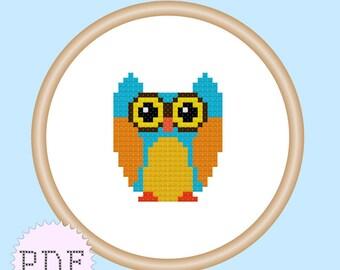 Owl Mini Cross Stitch Pattern PDF INSTANT DOWNLOAD