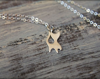 Cat Silhouette Necklace, Available in Brushed Silver or Gold