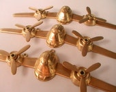 Large Airplane Raw Brass Stamping Moving Propellers Jewelry Supplies Metal Findings Steampunk Collage Mixed Media Unplated DIY Finish 1pcs