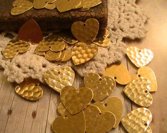 Hammered Heart Charm Blanks Raw Brass Stampings Brass Stamping Metal Findings Jewelry Supplies Jewelry Mixed Media DIY Finish 10pcs
