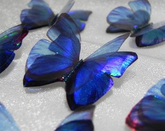 Sparkling iridescent blue resin butterfly brooch pendant magnet stick-on