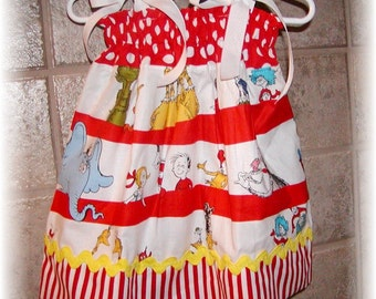 Girls Dress  Pillowcase style...Cat in the Hat...Infant toddler Custom. sizes 0-6, 6-12, 12-18, 18-24 months, 2T, 3T..Bigger sizes AVAILABLE