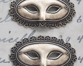 TWO Venetian Mask Brass Stamping, Mardi Gras, Brass Ox.