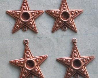 Four brass star charms with bezel and bottom loop, Rose Ox