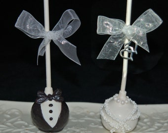 BRIDE AND GROOM Cake Pops, Wedding Favors, Bridal Showers, Out of Town Guests Bags, Bridal Shower Favors