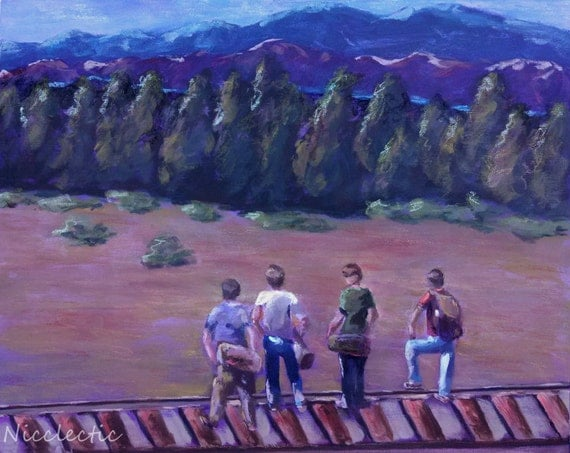 Stand By Me, Friendship, boys adventure, 80s movies, River Phoenix, Royal River movie scene boys bedroom decor, best friends, outdoors