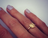 Gold stacking ring, Lion ring, 14k gold fill stacking ring, rustic hammered band