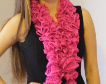 Knitted Hot Pink Ruffled Scarf