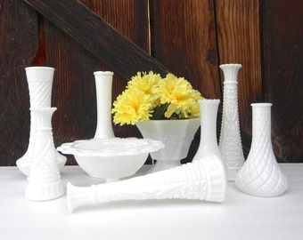Milk Glass Vases, Set of 9 for Weddings, Home Decor, Assorted Milk Glass Vase Collection,  Shabby Chic Wedding Vase Decor