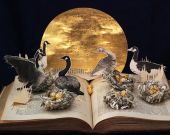 Six Geese a laying greeting card of an altered book sculpture 12 days of Christmas