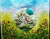 Landscape Fiber Art, wall art Art Quilt wallhanging, multicolour hand dyed with flowery motiffs,
