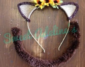 Fall Barn Cat Kitty Cat Ears and Tail with Gold Sparkle and Sunflowers
