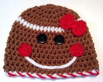 Christmas Baby Hat, Baby Girl hat, Holiday Baby Hat, Gingerbread Man Hat, Baby Boy Hat, Newborn Baby Hat, Crochet Hat, Crochet Baby Beanie