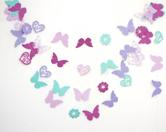 paper garland with butteflies flowers and hearts party decoration birthday party baby shower wedding bridal shower