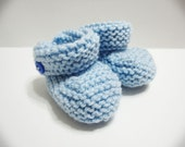 Baby Blue Baby Booties - 0-3 months Light Blue