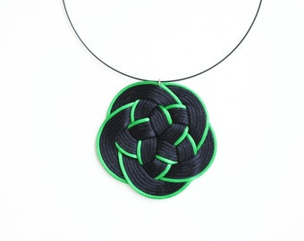 Black necklace, black and green knotted necklace, knot necklace, flower necklace, statement necklace, pendant necklace