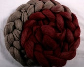 Hand-dyed Haunui New Zealand Halfbred combed wool roving (tops) - graduate dyed - 100gr Crimson over natural Dark Grey