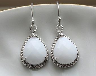 Silver White Opal Earrings Cream Jewelry - Bridesmaid Earrings White Opal Wedding Jewelry Winter White Silver Bridesmaid Jewelry