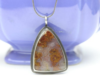 Cathedral Moss Agate & Sterling Pendant Necklace, Gorgeous Gemstone, OOAK, Unique Gift