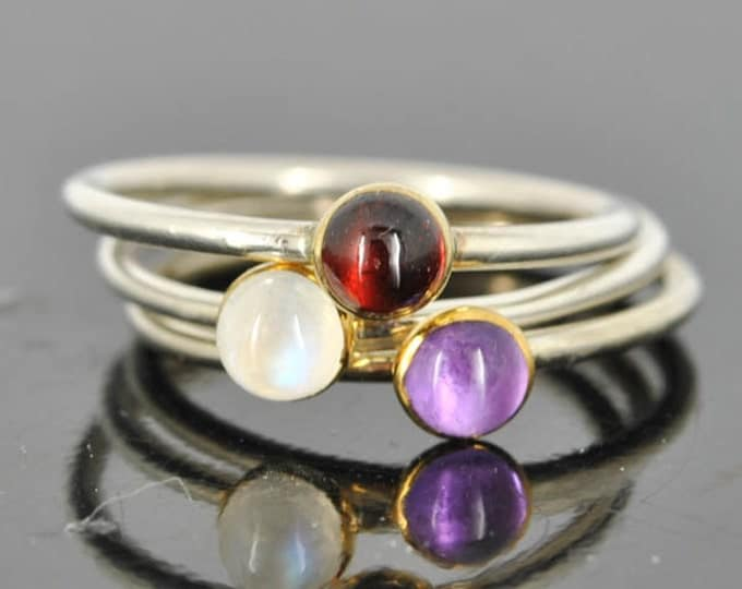 Garnet ring, Gold bezel, gemstone ring, stacking ring, january birthstone ring, personalized ring, bridesmaid ring, bridesmaid gift