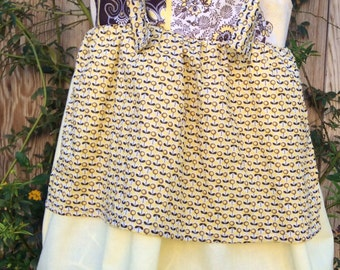 Yellow and brown girls apron dress for fall, spring, summer, toddler dress,school outfit,photo prop ,fall photography