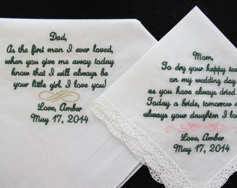 Embroidered Wedding Handkerchiefs for Mother and Father of the Bride