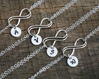 Set of 5,Personalized bracelet,Bridesmaid gifts,Wedding bridal Jewelry,Sterling Silver initial Infinity Bracelet,Sisterhood