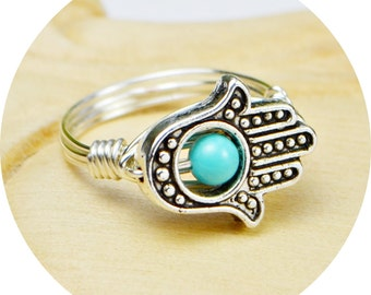 Hamsa Hand Ring- Sterling Silver Filled Wire Wrap Ring, Silver Plated Bead, Turquoise Howlite-Any Size 4, 5, 6, 7, 8, 9, 10, 11, 12, 13, 14