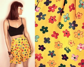 25% OFF SALE // vintage high waisted culottes // poppy floral print