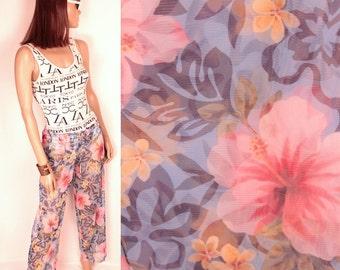 sheer mesh tropical print pants // drawstring