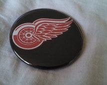 Detroit Red Wings Logo Black Red Pinback Button 2.25""