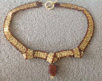 Handmade jewelry, Handcrafted bead woven jewelry, choker statement necklace with goldstone gemstone and metallic beads