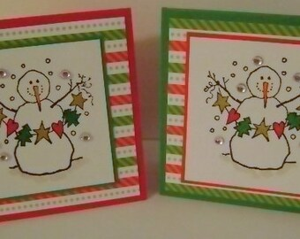 Holiday SALE ** Set of 6 Snowmen With Garland Gift Enclosure Cards