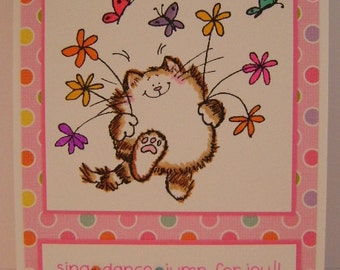 Sing*Dance*Jump for Joy Happy Cat Dance note cards