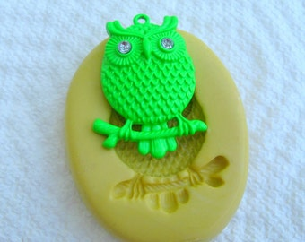OWL  push mold Food Grade Quality silicone mold for any crafts, jewelry making, FIMO, Sculpey, wax, soap..