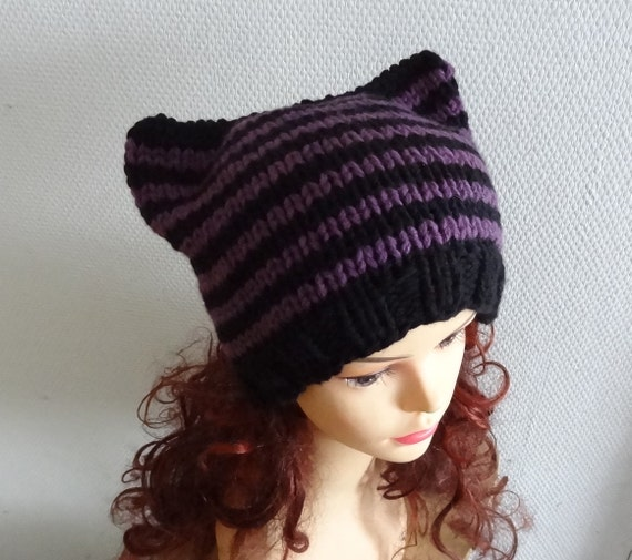 Knitting Pattern Cat Beanie : Cat Ears Hat Cat Beanie Chunky Knit Winter Accessories by ...