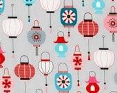 Kokeshi Lanterns on Grey from Robert Kaufman