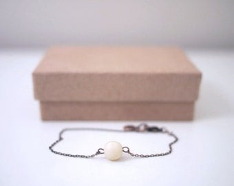 Dainty Delicate Japanese Glass Bead With Antique Copper Chain Bracelet