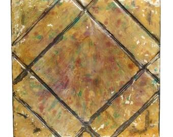 Hand painted geometric tin panel