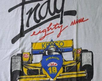 Vintage 80s Indy Indianapolis Eighty Nine Kraco STP Racing Light Gray T-Shirt