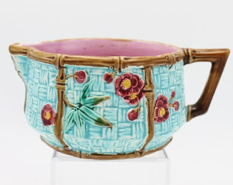 Majolica Bamboo and Flowers on Basket Weave Pitcher