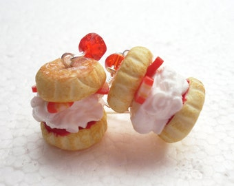 Cream And Jam Scone Earrings. Polymer Clay.