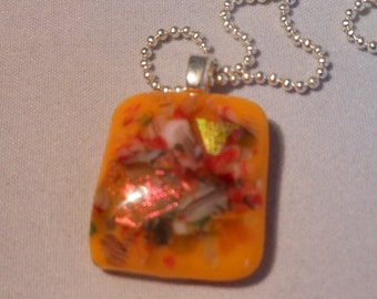 Fall colors Dicroic Fused Glass Pendant Necklace, Fused Glass Jewelry, Orange Dicroiic Pendant