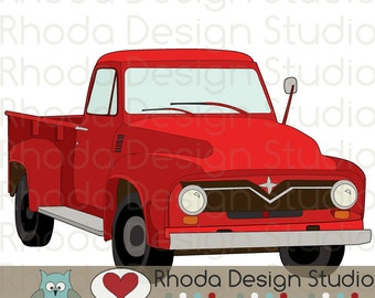 Red Route 66 Vintage Pickup Truck Stamp Digital Clip Art Retro