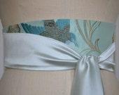 pale blue green silk wedding sash obi belt embroidered bird aqua engagement silk reversible beach ocean wedding