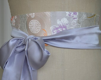 reversible silk wedding sash obi belt lilac pale orchid asian brocade white cream pastel floral waist cincher engagement party